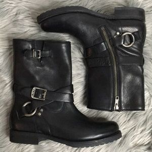 Frye moto boots 7.5 wrap buckle harness O-ring